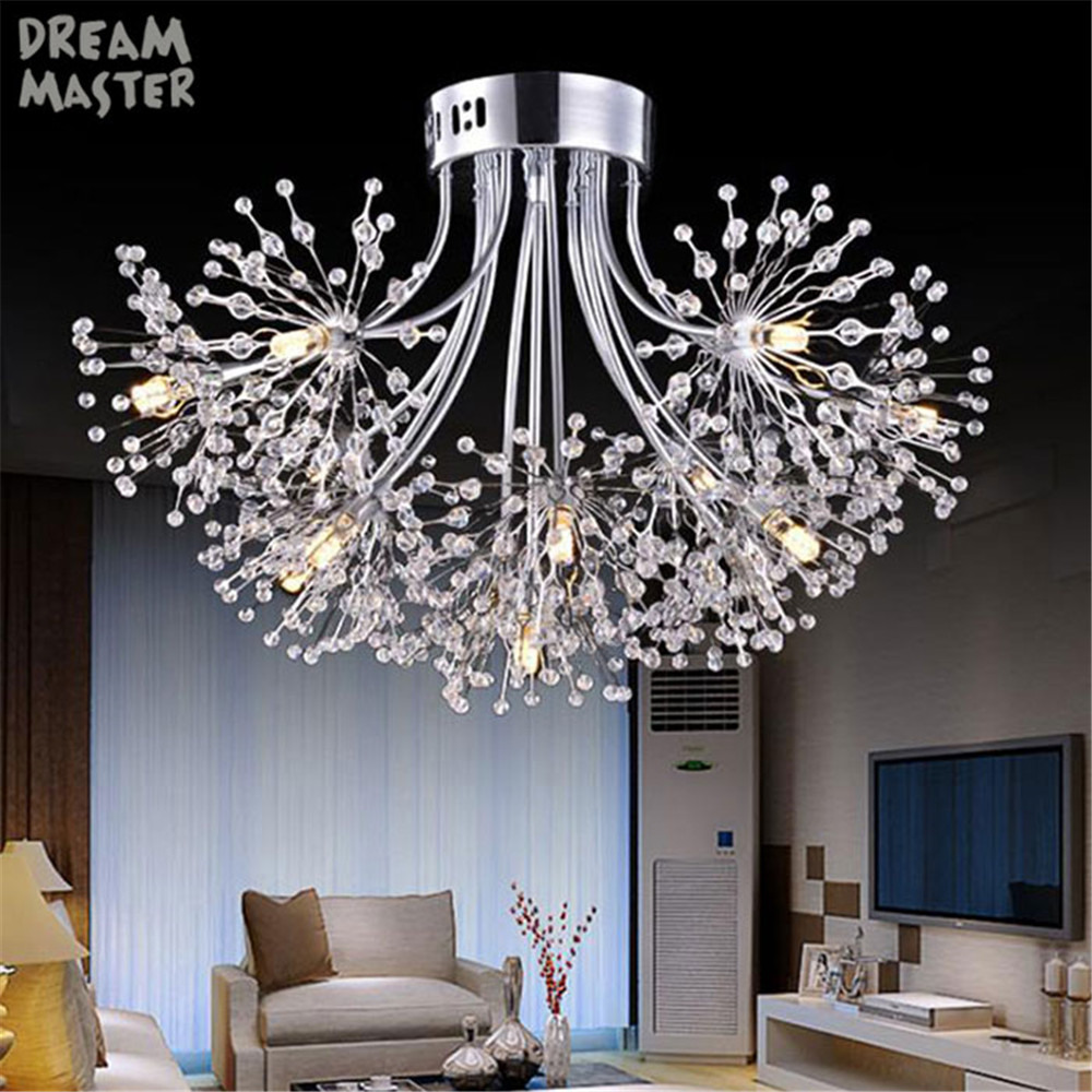 Modern crystal led ceiling chandeliers, High quality chrome finish led lustre chandelier lighting, Dandelion decor 13 light lamp-in Chandeliers from Lights & Lighting    1