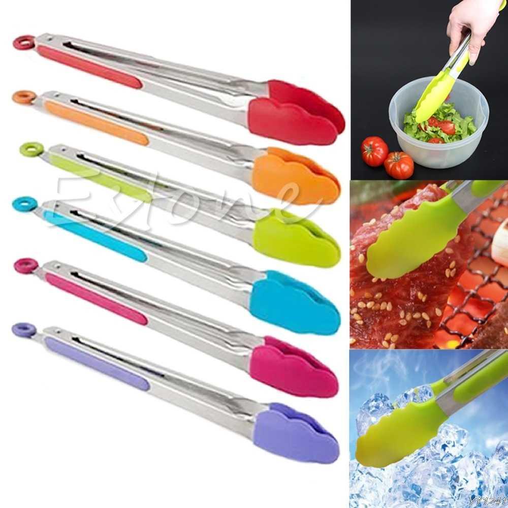 Новые Силиконовые Кухня Кулинария сервировка салата щипцы для барбекю щипцы Нержавеющаясталь ручки посуды Y110-Dropshipping