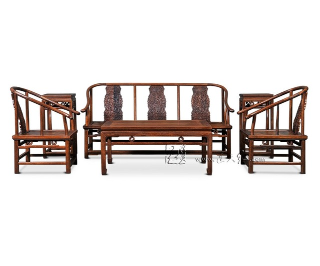 1+3 Seat 6 Pieces Triple Chair Set China Royal Rosewood Furniture Living Room Solid Wood Sofa Bed Suit Red Sandalwood Tea Tables