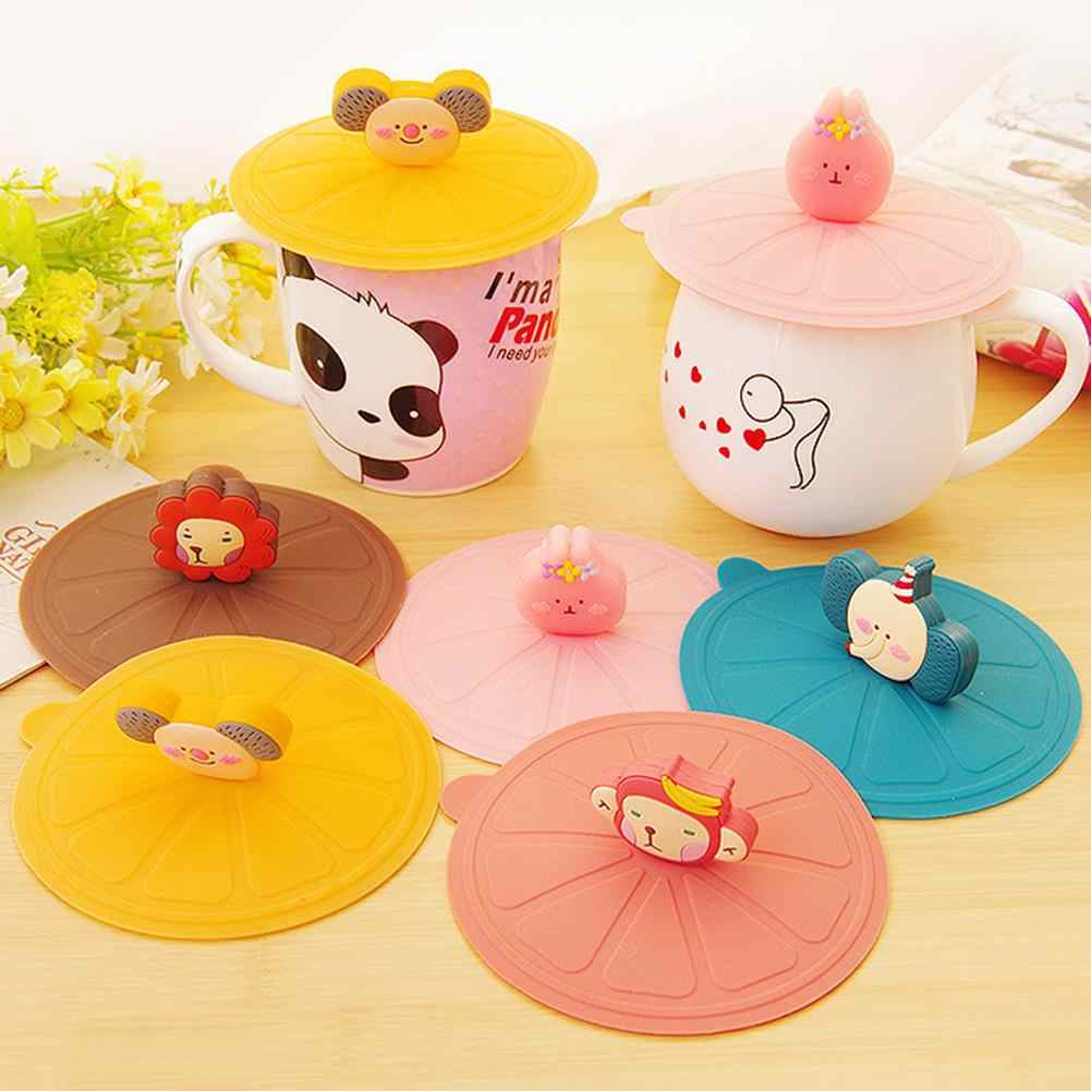 10.8cm Reusable Cute Cartoon Animal Heat Resistant Silicone Silicone Anti-dust Bowl Cover Cup Seals Glass Sealing Cup Lid Cover