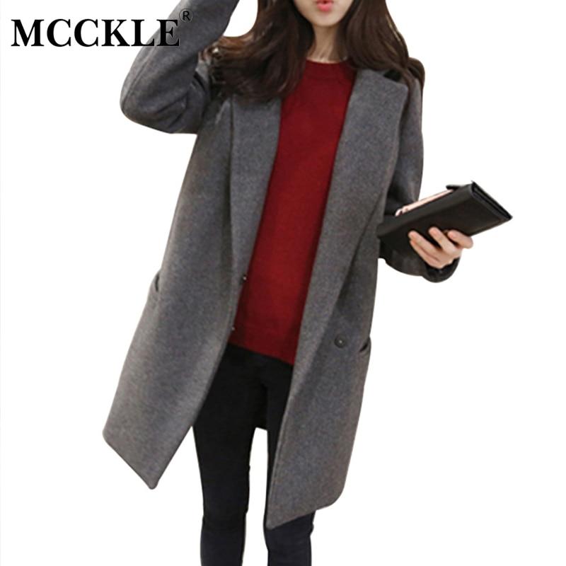 MCCKLE fashion Brand Design Coat Women Cotton-padded Wool long jacket coat  womens elegant solid - Popular Womens Coats Designer-Buy Cheap Womens Coats Designer Lots