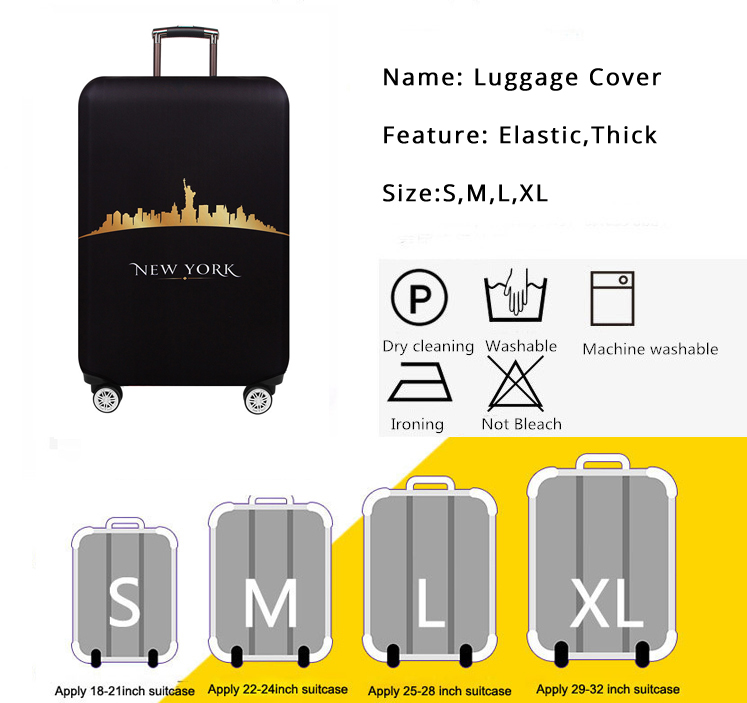 New York Paris Thicken Luggage Protective Cover 18-32inch