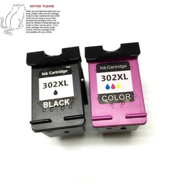YOTAT 1set Remanufactured ink cartridge for HP302XL HP302 for Deskjet 1110 1111 1112 2130 2131 2132 3630 4250 printers