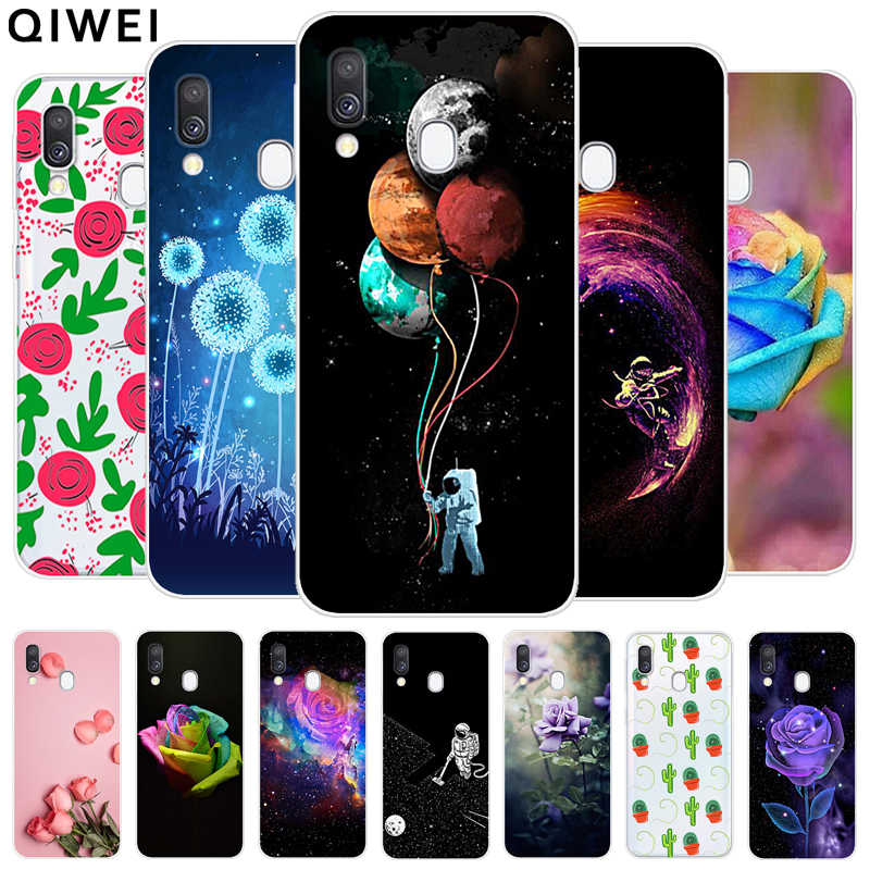 For Samsung Galaxy A40 Case Clear Flowers Cactus Pattern Soft Silicon Phone Cases For Samsung A40 A 40 A405 A405F Tpu Cover Capa