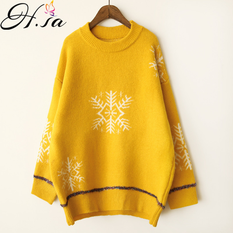 H.SA Autumn Winter Women Oversizes Sweater and Pullovers 2018 loose Christmas Sweater Jumpers Long Snow Knitwear Warm Pullover