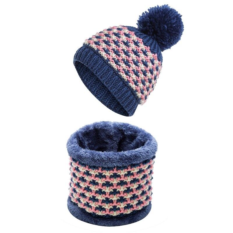 IANLAN sombrero Casual conjunto de bufanda para mujer colorido bufandas de punto  sombreros de invierno de las niñas al aire libre engrosamiento cálido gorro  ... 1e3967b1482