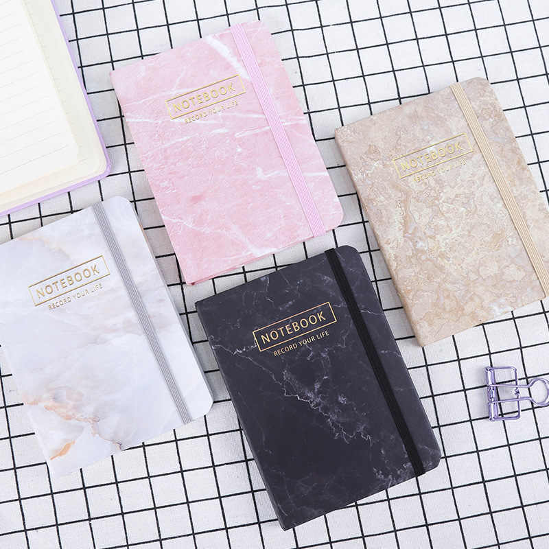 4 สีดำสีขาว Marble Notebook Planner Journal Bullet แบบพกพา Planner แผ่นเรียงรายวาระโรงเรียนหนังสือเครื่องเขียนอุปกรณ์