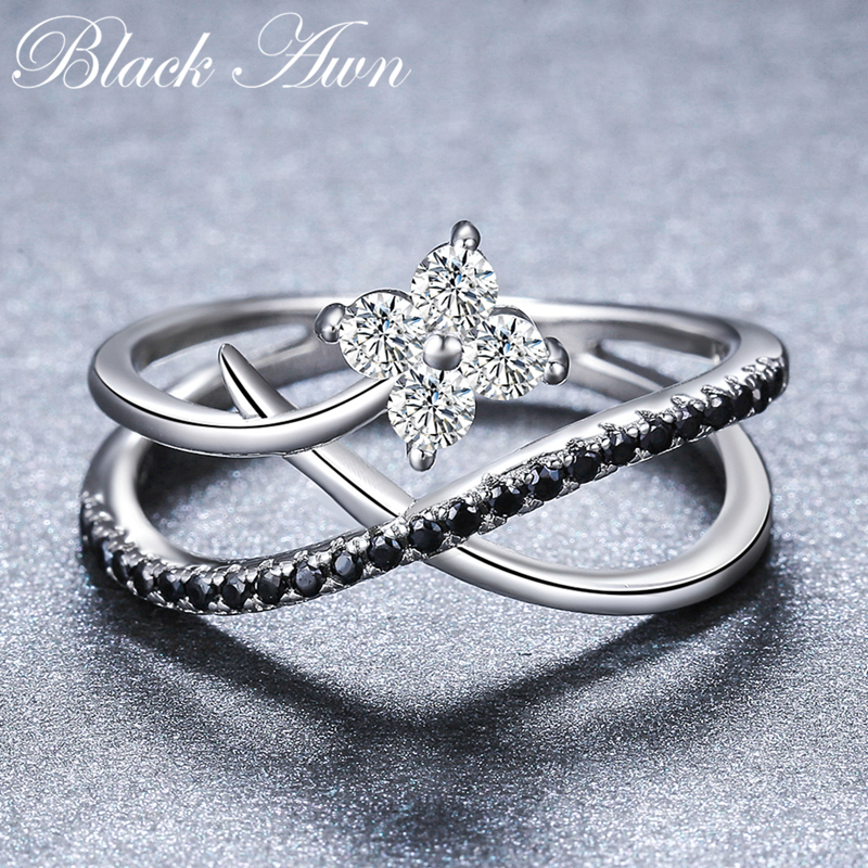 2018 New Romantic 925 Sterling Silver Fine Jewelry Engagement Black Spinel Flower Engagement  Ring For Women Anillos Mujer G084