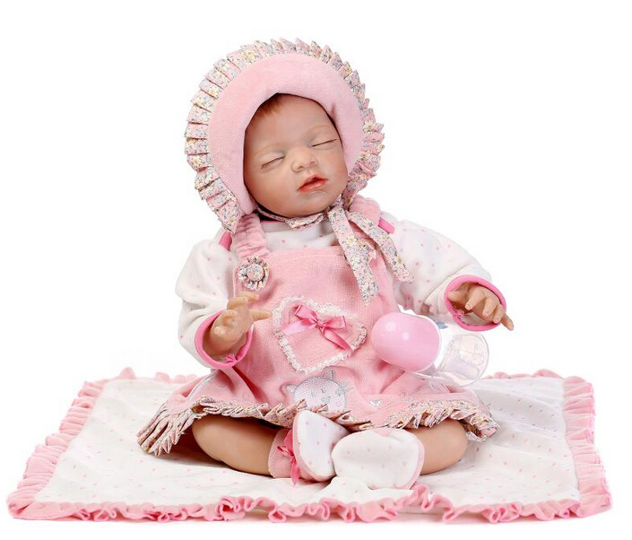 Silicone Reborn Baby Doll Toys For Girl Lifelike Pink Princess Sleeping Baby Dolls Reborn Birthday Christmas Gifts Kid Child Toy lifelike american 18 inches girl doll prices toy for children vinyl princess doll toys girl newest design