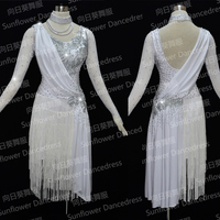 Latin Dance Dress lady Ballroom Dancing Dress Latin Costume Dance Latin Dress Tango Dress dancing skirt white fringe