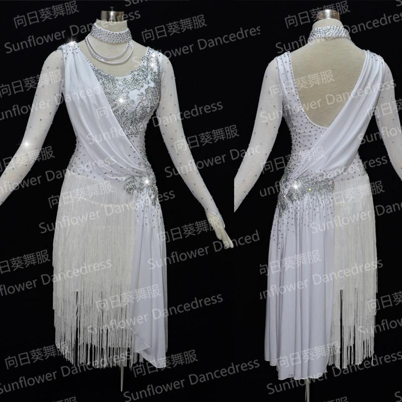 Robe de danse latine robe de danse de salon de dame Costume Latin danse robe latine robe Tango jupe de danse frange blanche