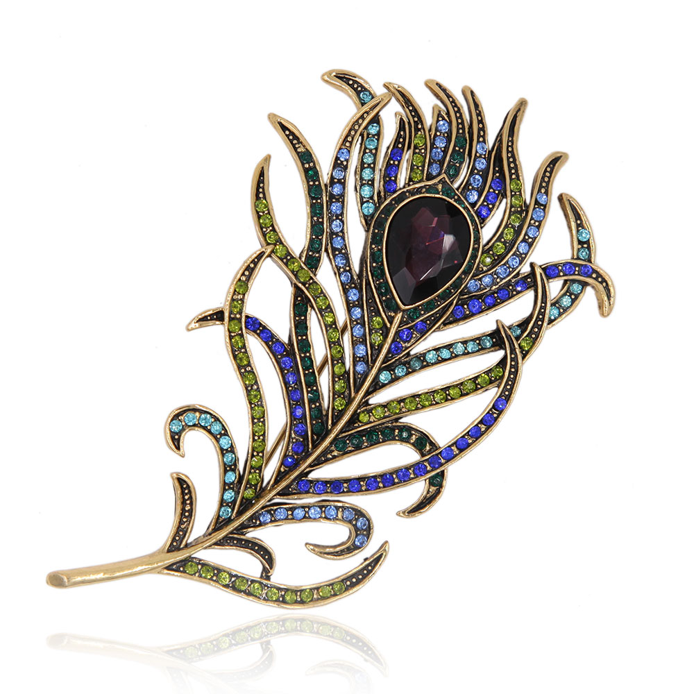 Romantic Feather Brooch Pin Antique Gold Crystal Rhinestone Metal Vintage Jewelry Accessory