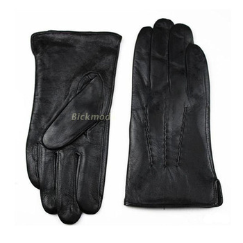 Leather Gloves Male Sheepskin Straight Button Style Thin Velvet Lining Warm Fall Winter Men's leather split 2018 Free Shipping 1