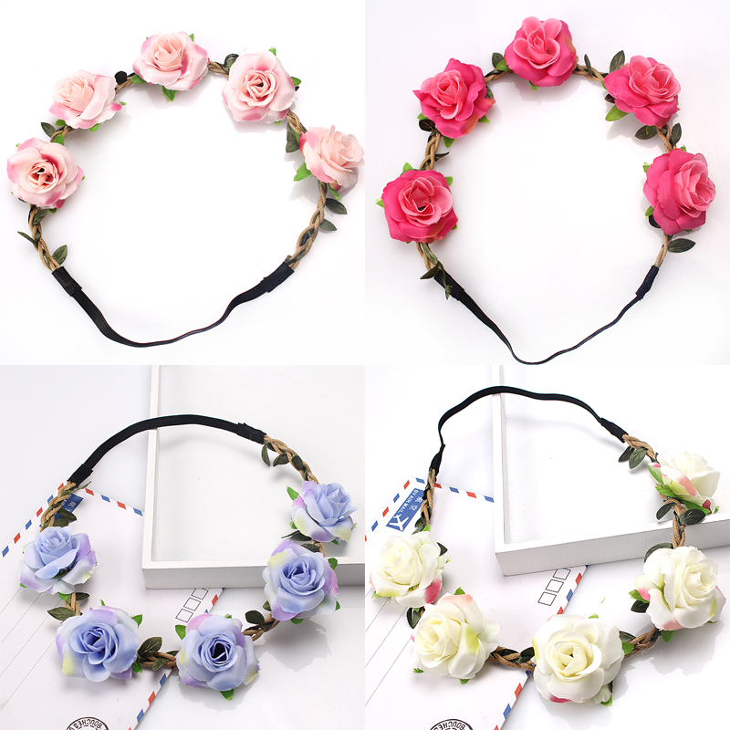 M MISM Wedding Rose Red Garland Flower Vine Wreath Gradient Color Headwear Elastic Rubber Hair Bands Accessories For Bride Girls