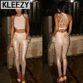 New Arrival 2016 Sexy Women Suits Bandage  Crop Top And Penicel Pants Women Suit Club Wear Womens Tight 2 Pieces Sets 2088