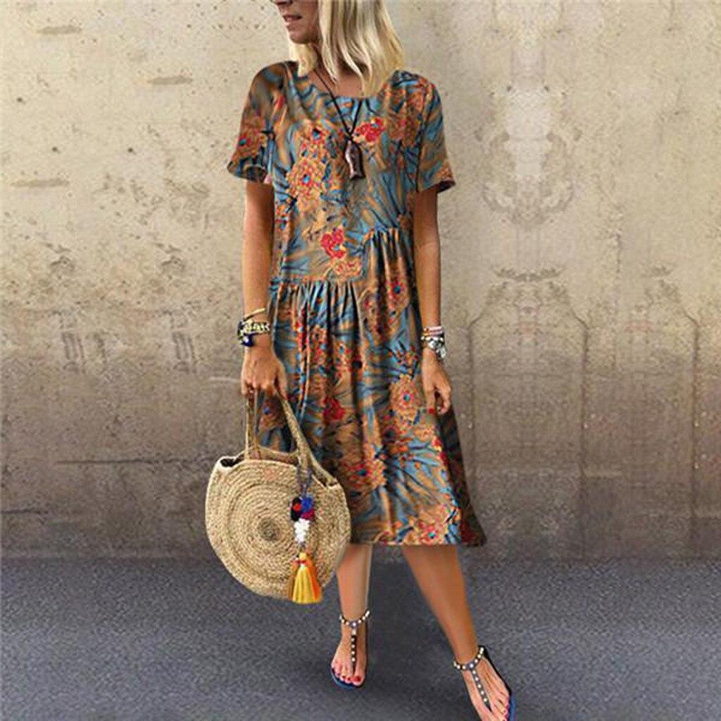 1029099e6 Feitong verano rodilla-longitud vestido de mujer nuevo Retro redondo cuello  suelto Sukienki Boho ...