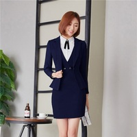 Autumn Winter Professional Business Blazers Suits Ladies Uniform Styles Dresses Suits For Business Women Work Wear