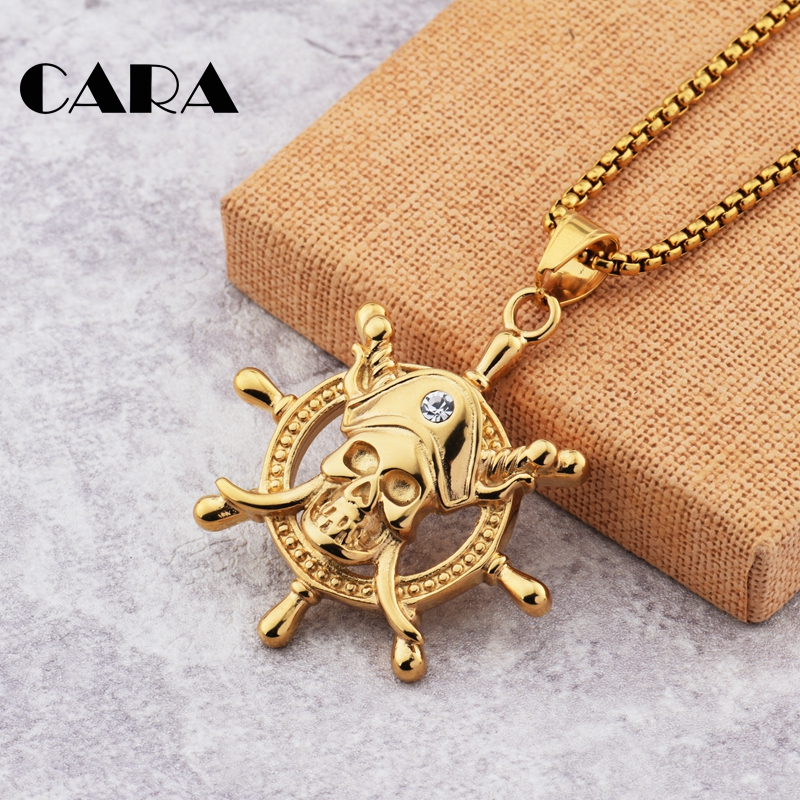 2019 New Captain Pirate skull Ruddle charm necklace mens hip hop stainless steel necklace fashion jewelry wholesaler CAGF0433 in Pendant Necklaces from Jewelry Accessories