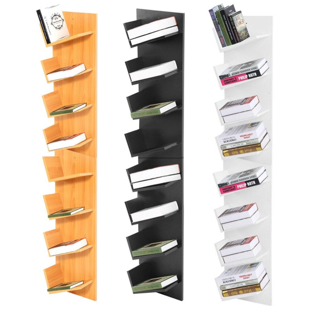 8 Tier Wall Mounted Books CDs Display Storage Rack Shelf ...