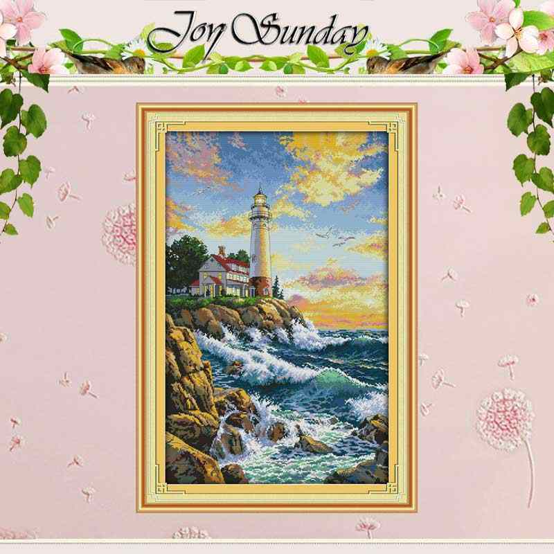 The Lighthouse Counted Cross Stitch 11CT Picture Printed 14CT Cross Stitch Set landscape Cross-stitch Kit Embroidery Needlework