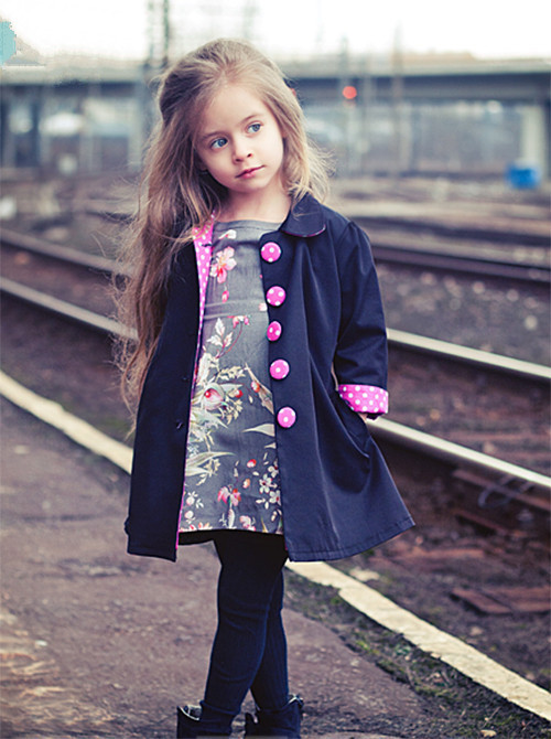 2 7 yrs New 2016 Kids Wind Coats Children Outerwear Fashion Girl Coat Vogue Trench Bowknot