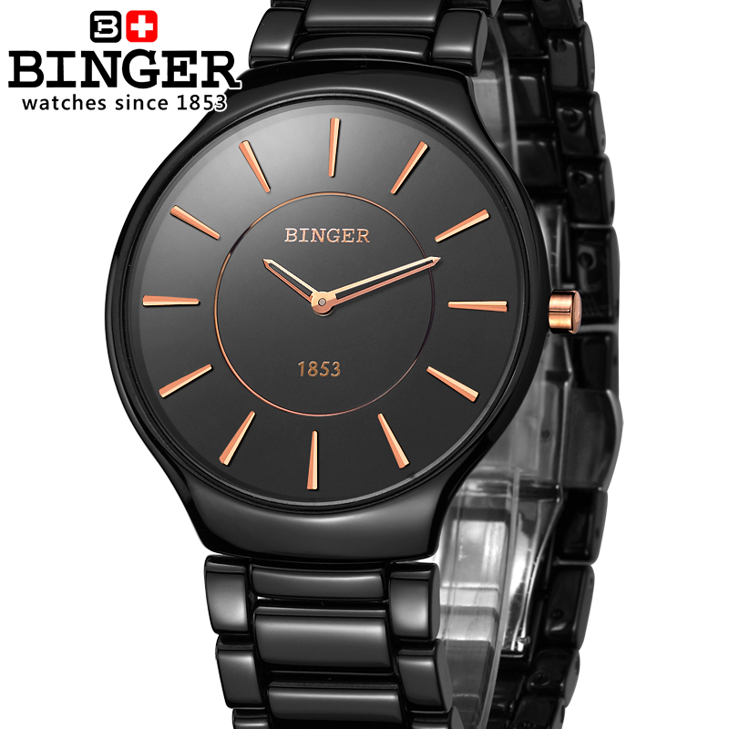 Switzerland Luxury Brand Male Wristwatches Binger Space Ceramic Quartz Men's Watch lovers style Water Resistant Clock B8006B-3 все цены