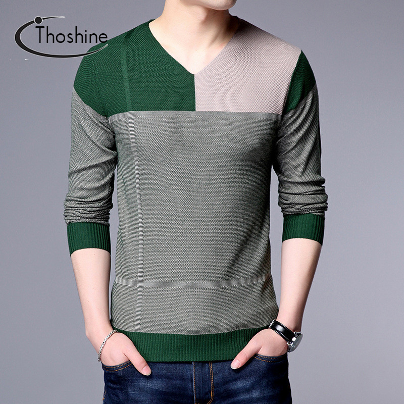 Thoshine Brand Spring Autumn Men Knitted Thin Sweaters V-Neck Color Contrast Patchwork Cashmere Pullovers Knitwear Long Tops