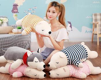 1pc 70cm polar bear Husky noon break office plush head cushion + blanket high quality vehicle stuffed toy romantic gift