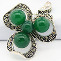 lady's 925 Silver Jewelry Natural Green Jade Beads Flower Marcasite Pendant 47x37mm