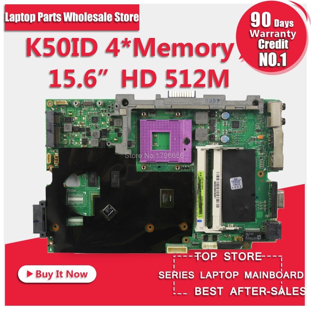 K50ID 512M 4 Atmiņa Asus K50I K50IE X5DI K50ID klēpjdatora mātesplates virsmai 60-NZ1MB1000-A03 69N0HUM10A03-01