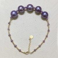 Sinya Au750 18 К золотые браслеты с высоким блеском 10 11 мм Эдисон фиолетовый жемчуг браслет для женщин девочек мама лучший подарок 2018