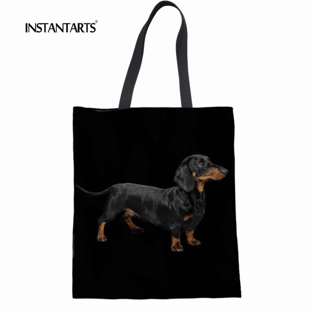 62141c4196 INSTANTARTS negro mujeres Casual bolsos Dachshund perro patrón mujeres  lienzo Lino manija superior paquete mujeres hombro