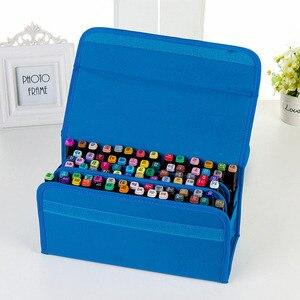 Image 4 - 3 色 80 穴マーカーペンバッグ文具アートマーカーペンバッグアーティストスケッチコピックマーカーペンバッグアニメーションデザイン