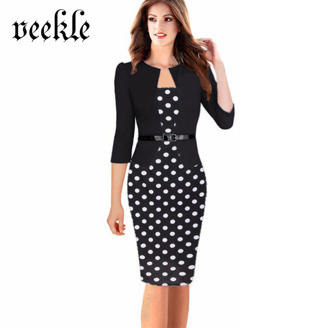 VEEKLE Women Office Dress Plus Size Faux Jacket One-Piece Bodycon Vestidos Patchwork Elegant Summer Wear To Work Dresses 6XL 7XL