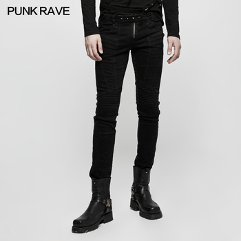New Arrival Punk Rave Gothic gothique black Men's Rock cool visual kei performance Long pants K300