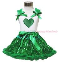 Valentijnsdag bling hart wit top meisje groen sequin pettiskirt set 1-8Year MAPSA0442
