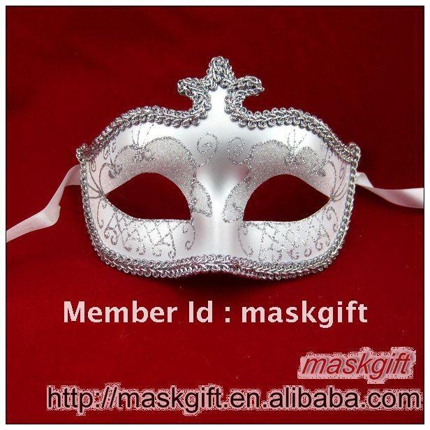 До США maskgift A002 белого и серебристого цвета итальянская, венецианская стиль пластиковые Свадебная маска