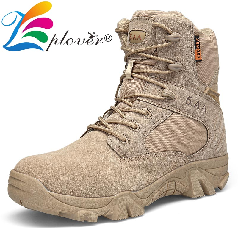 Autumn Winter Boots Men Safety Shoes Leather Military Boots Special Force Tactical Desert Combat Ankle Boots Army Work Snow Boot