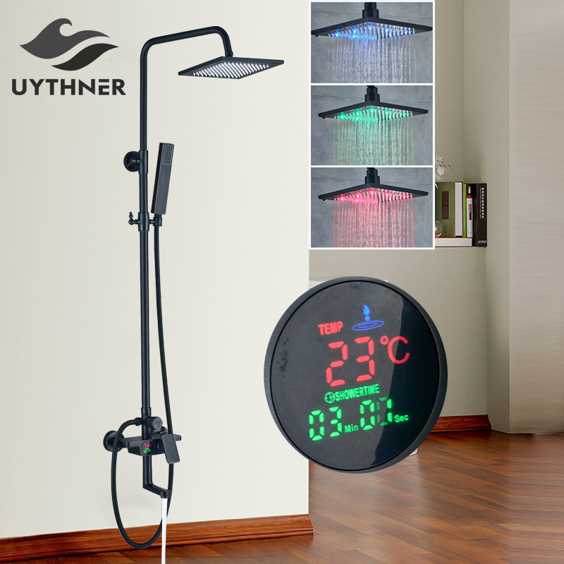 Uthyner Temperature Display Screen 8& 10& 12 LED Rainfall Shower Head Shower Faucet Bathtub Mixer Tap Oil Rubbed Bronze