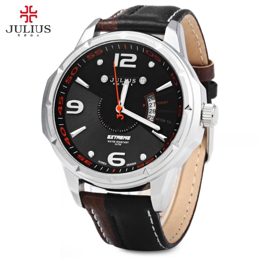 Julius Men Business Watch Calendar Male Leather Strap Watches Man Waterproof Analog Quartz Wristwatches relogio masculino