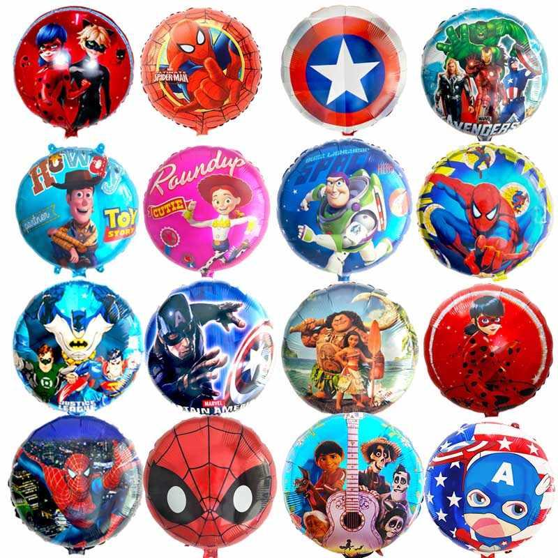 Sorte 1 pcs 18 polegada Dos Desenhos Animados Spiderman Avengers Heros Sequaz Unicórnio Folha De Balão De Hélio Decorações Do Partido Fontes Do Partido Joaninha