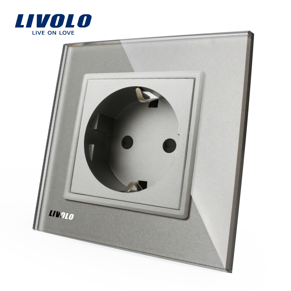 Livolo EU Standard Power Socket, AC 110~250V 16A Wall Power Socket, VL-C7C1EU-15, Grey ColorLivolo EU Standard Power Socket, AC 110~250V 16A Wall Power Socket, VL-C7C1EU-15, Grey Color