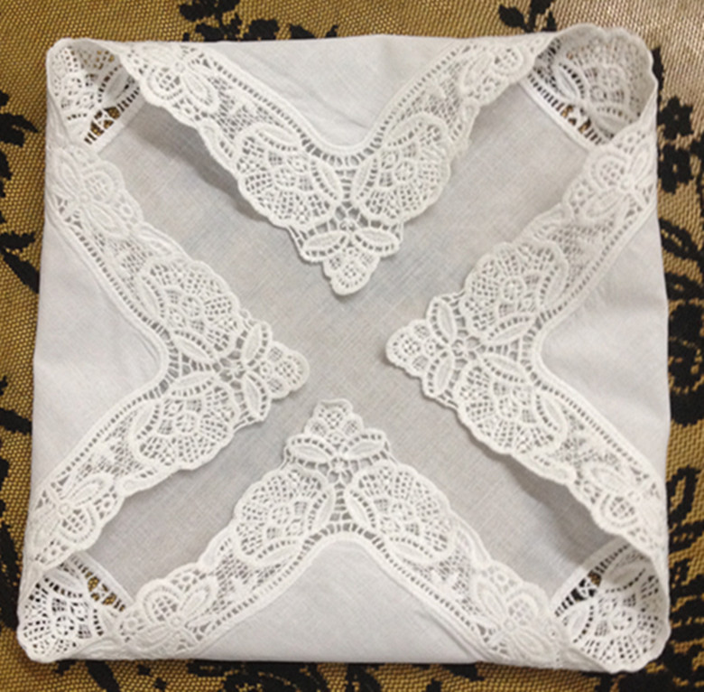Fashion 12PCS/Lot White Soft 100% Cotton Women Handkerchiefs 12x12