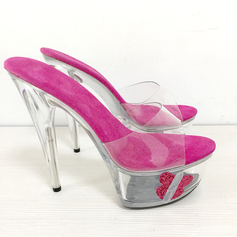 Platform Slippers Women Shoes Slides Summer Rose 15cm High Heels Butterfly Crystal Ladies Shoe Transparent Peep Toe Clear Heels 2017 han edition of the new fashion women s shoes big yards high heels crystal cool slippers 15cm