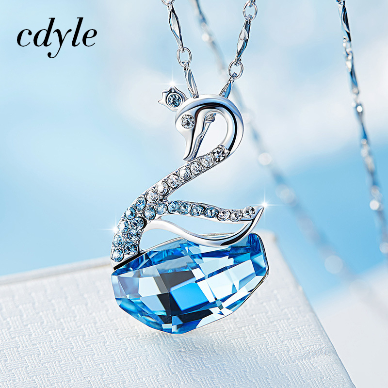 Cdyle Crystals from Swarovski Necklace Women Pendants S925 Sterling Silver Jewelry Swan Shaped Austrian Rhinestone Paved Elegant