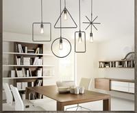 Retro lustre personalidade criativa ferro LOFT Nordic simples loja de roupas bar cafe lâmpadas única cabeça geometria GY33|geometry lamp|chandelier creative|retro chandelier -