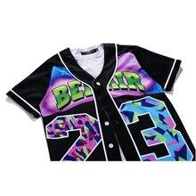 MTS130 Mens Buttons Homme 3D Shirt  Streetwear Tees Shirts Hip Hop Bel Air 23 – Fresh Prince Custom Made Baseball Jersey