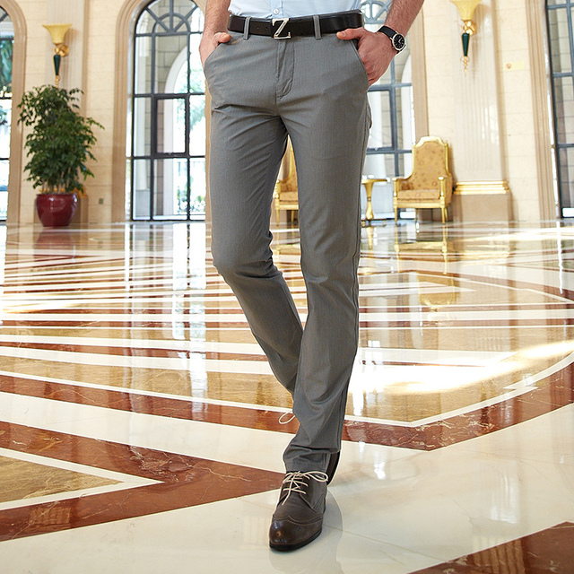 Office Work Mens Chino Pants Full Length Cotton Summer