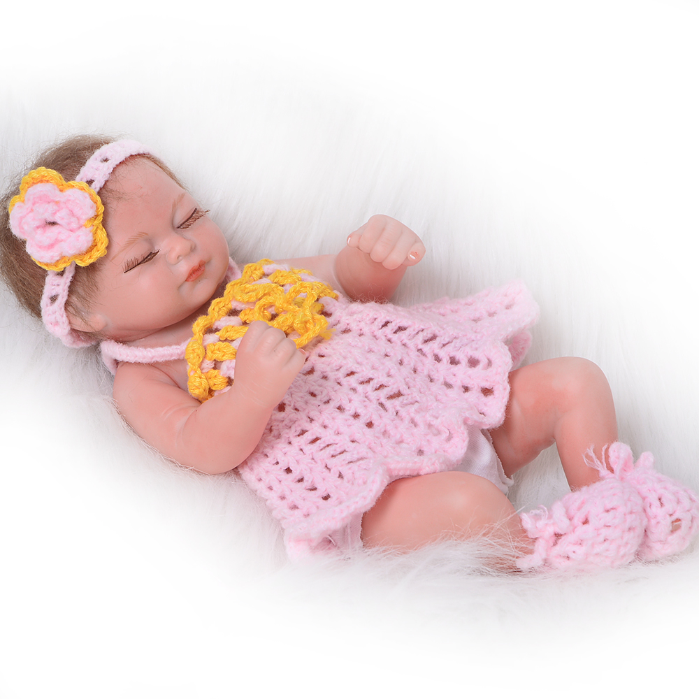 Cute 11 Inch Reborn Baby Dolls 57 Cm Full Silicone Vinyl Newborn Girl Babies Sleeping Alive Baby Toys For Kids Holiday Xmas Gift npkcollection 52cm full body silicone reborn dolls babies alive bonecas newborn girl baby doll toys for kids christmas xmas gift
