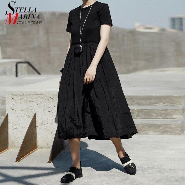 New 2019 Korean Style Summer Women Solid Black Long Dress O Neck A-Line Mid Calf Length Female Casual Cute Wear Dress Robe J070